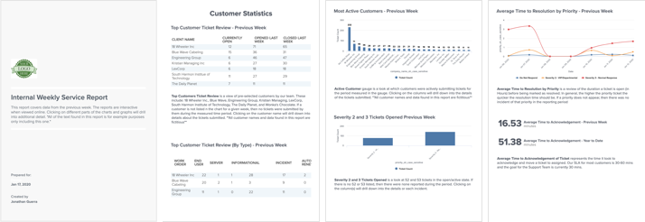 sample internal weekly service report in brightgauge